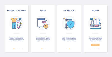 Retail shopping online, money protection UX, UI onboarding mobile app page screen set