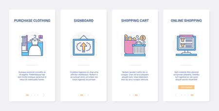 Shopping online modern internet technology UX, UI onboarding mobile app page screen set