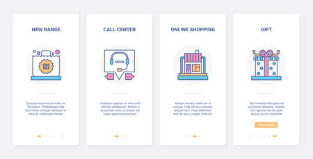Online shopping service, support technology UX, UI onboarding mobile app page screen set 向量圖像