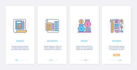 Shopping, financial account safe technology UX, UI onboarding mobile app page screen set