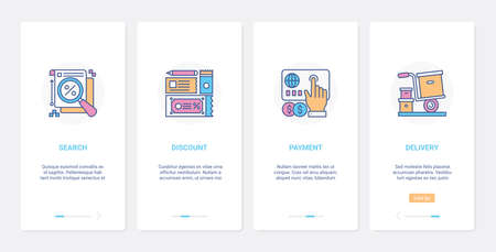 Online shopping, profit discount technology UX, UI onboarding mobile app page screen set