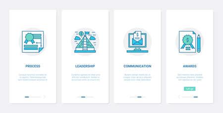 Business startup, leader, employee team communication UX, UI mobile app page screen set 向量圖像