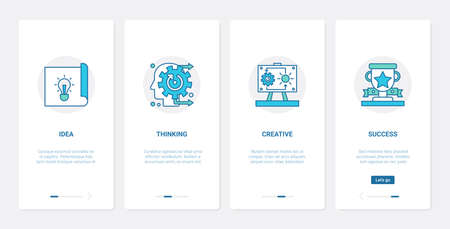 Business office work line technology UX, UI onboarding mobile app page screen set 向量圖像