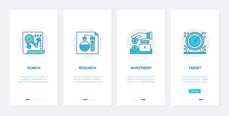 Business startup analysis research, development UX, UI onboarding mobile app screen set