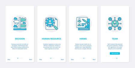 Business hr management, recruitment UX, UI onboarding mobile app page screen set