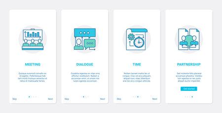 Business education, partners communication UX, UI onboarding mobile app page screen set 向量圖像