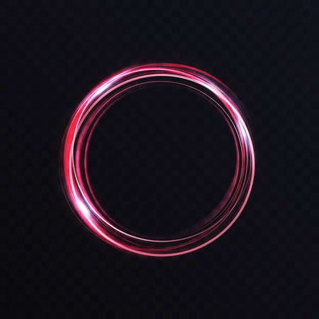 Luminous vibrant neon circle ring, abstract glowing light effect, storm trace round swirl