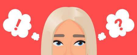 Girl thinking about problem with dots in think bubble, expression portrait with eyes 向量圖像