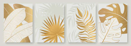 Tropical golden leaves set for social media stories, luxury abstract gold palm tree leaf
