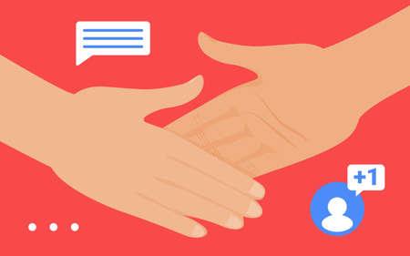 Handshake gesture, social media network, friend, follower or partner hands handshaking