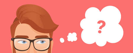 Man thinking, pensive young male character wearing glasses thinks with question mark