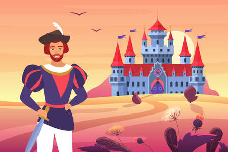 Prince in medieval clothes standing next to fantasy castle in fairytale landscape