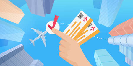 Buy airline tickets for business travel flight worldwide, tourist hands holding tickets 向量圖像