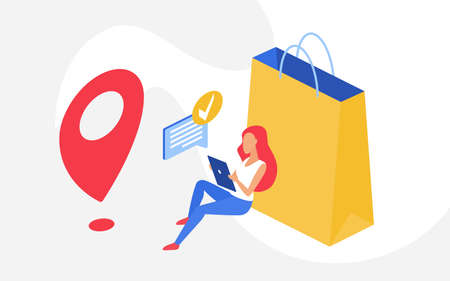 Shopping online, sales concept, woman shopper sitting with phone next to big shopping bag