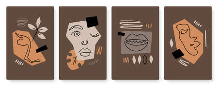 Abstract face, lips art with lines set, template background for social media stories 向量圖像