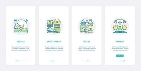 Sport equipment, helmet water bottle sportswear prize UX, UI mobile app page screen set