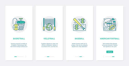 Sport equipment, basketball volleyball rugby baseball UX, UI mobile app page screen set