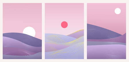 Abstract minimal gradient landscape set, template background for social media stories