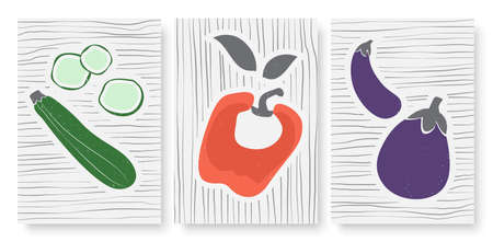 Abstract simple minimal vegetables set, template background for social media stories