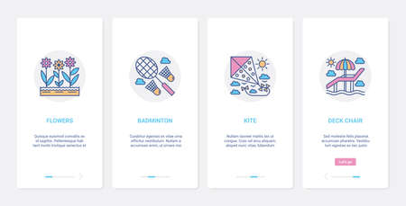 Summer time activity, playing sport game UI, UX onboarding mobile app page screen set