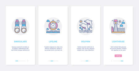 Summer time sea vacation line activity UI, UX onboarding mobile app page screen set 向量圖像