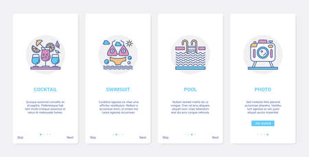 Summer time beach vacation activity UI, UX onboarding mobile app page screen set