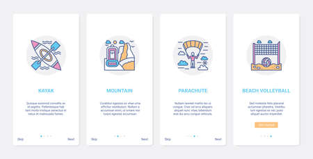 Summer time extreme sport line activity UI, UX onboarding mobile app page screen set
