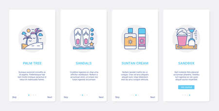 Summer time beach vacation line objects UI, UX onboarding mobile app page screen set