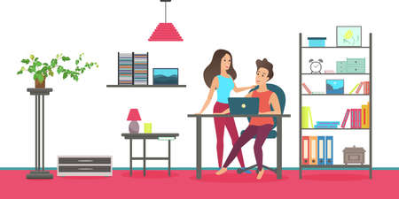 Happy people talk, spend time at home interior, couple talking, standing together