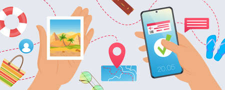 Travel vacation tourism concept, tourist hands holding smartphone with flight booking 向量圖像