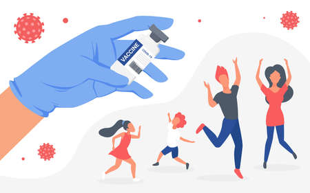 Family people vaccination concept, doctor hand in medical glove holding vaccine bottle 向量圖像