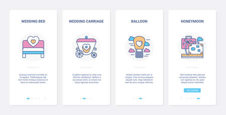 Wedding day, line honeymoon travel cruise UI, UX onboarding mobile app page screen set