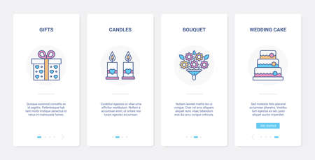 Wedding gift, line festive decoration UI, UX onboarding mobile app page screen set