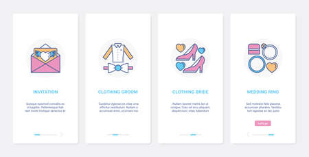 Wedding decoration, suits and rings for bride and groom UI, UX mobile app page screen set
