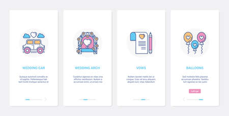 Wedding day party celebration objects UI, UX onboarding mobile app page screen set 向量圖像