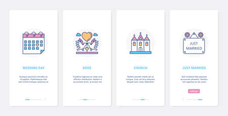 Wedding day, bridal marriage celebration UI, UX onboarding mobile app page screen set 向量圖像