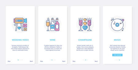 Wedding celebration party and banquet UI, UX onboarding mobile app page screen set 向量圖像