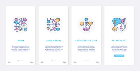 Wedding love and romance symbols for invitation UI, UX mobile app page screen set