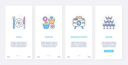 Wedding celebration banquet, drink food, UI, UX onboarding mobile app page screen set
