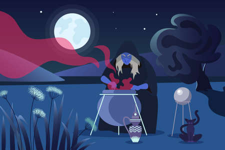 Happy Halloween scary concept, old witch character cooking magical potion in cauldron