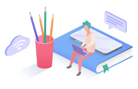 Isometric people work study online concept, man student or worker sitting with laptop 向量圖像