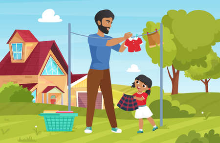 Family wash clothes, domestic household chores with young father and girl daughter Vetores