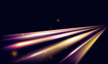 Light speed transport car flare effect, abstract fast motion on city road at night vector illustration. Dynamic neon rays and lines glow, glowing futuristic energy on transparent dark background