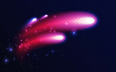 Abstract shining comet meteorite shape, firework glowing light effect vector illustration. Neon fire trail of firecracker explosion, meteor asteroid flying in space on dark transparent background Ilustração