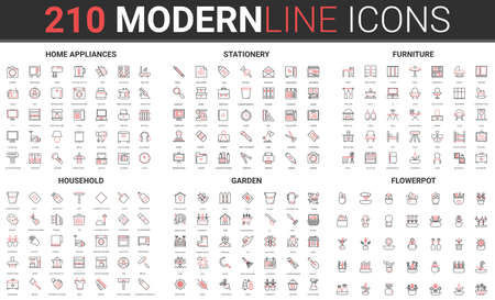 Household appliances, home furniture and office stationery thin red black line icon vector illustration set. Garden tools for care of flowers plants, flowerpots and vases, housework cleaning objects