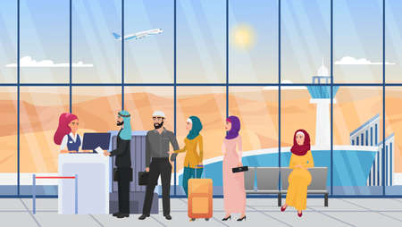 Saudi arab people waiting in line in airport hall terminal vector illustration. Cartoon young woman in hijab, man in robe with travel bag suitcases, muslim characters at flight registration background
