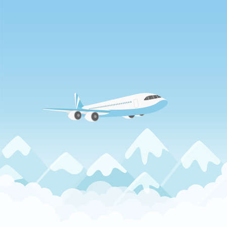 Airplane flight, air plane flying over mountains in blue sky vector illustration. Cartoon charter aircraft with passengers or cargo freight transport travel, international transportation background Ilustração