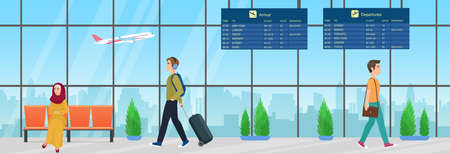Passenger people with luggage waiting for airplane flight in airport departure room interior vector illustration. Cartoon young muslim woman character in hijab sitting in chair, man walking background Ilustração