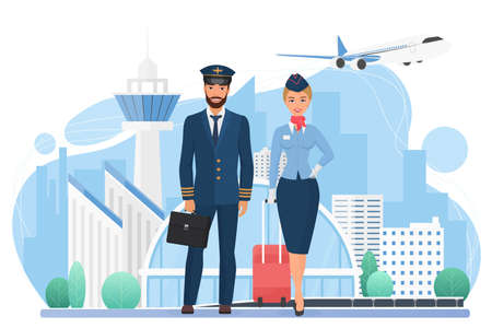 Aircraft crew people in modern airport vector illustration. Cartoon stewardess and pilot characters standing together, international airlines service persons holding travel bags isolated on white