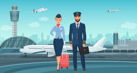 Pilot captain and stewardess, airplane crew standing next to aircraft vector illustration. Cartoon professional airline workers characters in uniform stand together on airport runway background